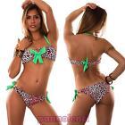 Bikini donna costume mare FIOCCO animalier leopardo pois top a fascia nuovo 151
