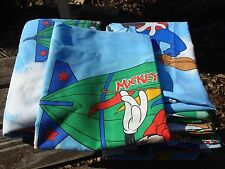 Disney Mickey Mouse Air Mobile Twin Flat Fitted Pillowcase Sheets Set Vintage