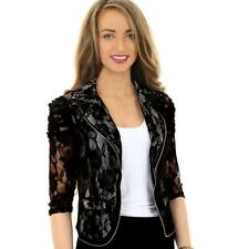 Ladies 3/4 Sleeve Lace Lined Frill Open Front Women's Evening Jacket