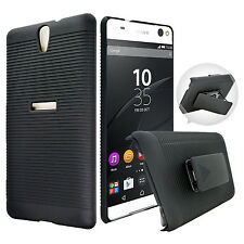 For Sony Xperia C5 Ultra Black Hybrid Armor Case + Belt Clip Holster Phone Cover