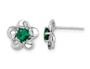Created Emerald Flower Post 7/10 Carat (ctw) Earrings Sterling Silver
