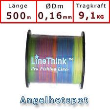 500m (0,044€/m) Angelschnur Multicolor Rundgeflochten 0,16mm 9,1KG Angelhotspot
