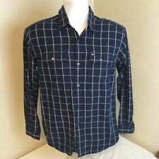 Tommy Hilfiger Shirt Youth Large Long Sleeve Blue Plaid Box Tag Free Shipping!