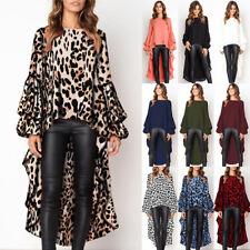 Fashion Womens Leopard Print Shirt Top Ladies Autumn Asymmetric Blouse Size 6-18