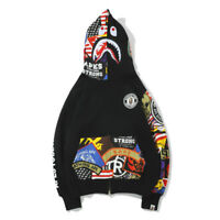 NEW Graffiti A Bathing Ape Bape Cotton Jacket Shark Head Hoodie Coat Sweatshirts