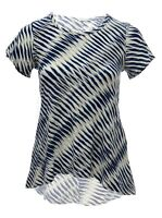 Womens New Blue White Print Back Dipped Hem Tunic Top Plus Size 12 To 26 BNWT