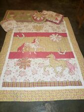 Girls PiNk Green Horse Pony Comforter Lot Curtain Valance Sham Rug Pillow