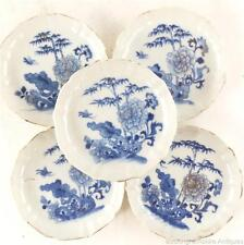 C1735-1796 cinco Antiguo Chino QIANLONG Porcelana Platillo Platos rockwork Bambú