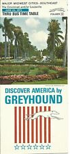Greyhound Bus Timetable Thru Bus Schedule 1971 Major Midwest Southeast Cities.