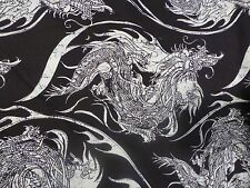 Incredible Dragon Design in Cream on Black Cotton!!  Real Stunner!!