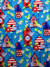 "Patriotic Birdhouses birds flowers red blue Valance Window 15""x42"" FREE SHIP"