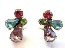 Charming Vintage Angel Screwback Earrings*Gold Tn Pastel Rhinestone Jewelry*A428