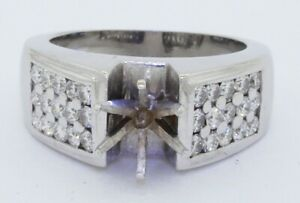 Heavy 14K WG 1.20CTW VS/F diamond cluster wedding/engagement ring semi-mounting