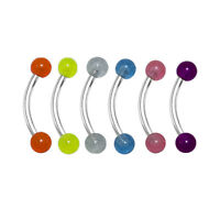 Eyebrow Ring Piercing 6pc Curved Barbell Glow In The Dark Balls 16G Tragus Rook