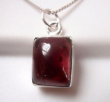 Small Garnet Simple Rectangle 925 Sterling Silver Pendant New
