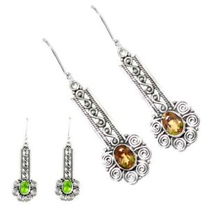 4.21cts Green Alexandrite (lab) 925 Sterling Silver Dangle Earrings P43152