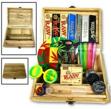 Jumbo Smoking Box Christmas Set - Rolling Papers, Wooden Box, Ash Tray, Grinder