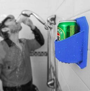 Shower Beer Beverage Drink Holder Rack Blue Sticks to Glass 2K0