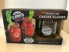Mott`s Clamato Caesar Mason Jar 20oz Glass Set of 2 New