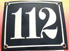 Hausnummer Emaille  Nr. 112  weisse Zahl auf blauem Hintergrund 12 cm x 12 cm