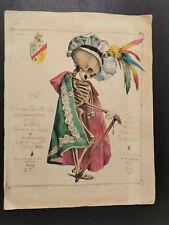 1831 Gravure réhaussée aquarelle CARICATURE Bâstard Fœtus Hérédité memento mori