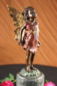 Original Art Deco Cherub Fairy Butterfly Angel Bronze Marble Figurine Lost Wax
