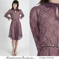 Vintage 70s Sheer Purple Dress Boho Secretary Polka Dot Ruffle Draped Party Mini