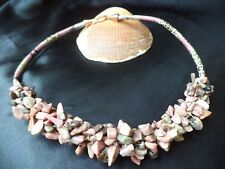 Bohemian chunky Gemstone Rhodonite nuggets snake print leatherette Boho NECKLACE