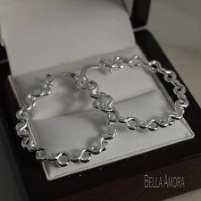 Sterling Silver Pltd 925 Stamped Wave Twist Hoop Earrings 30mm - New - UK -141