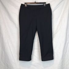 Ann Taylor Size 8 Black Cropped Cuffed Straight Legg Pants