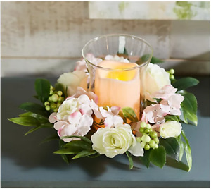 Illuminated Curved Glass Hurricane with Candle Ring by Valerie, Pink Floral, NWD