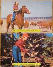 Pair 1950 Postcards - Cowgirl in Del Norte, Colorado Co