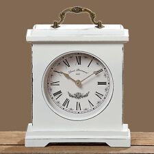 Tischuhr 24cm weiss,Shabby-Look,Vintage,Standuhr mit Quarzuhrwerk,NEU!!!