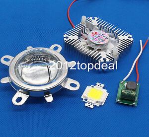 10W Cold White 6000-6500K High Power LED+10W Driver+44mm Lens+10w Heatsink kit