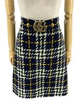 Authentic GUCCI GG Marmont Buckle Tweed Skirt Check Plaid Dark Blue #40 Rank AB+