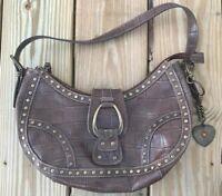 Nine West Handbag Brown Faux Crocodile Pattern Leather Shoulder Bag Purse