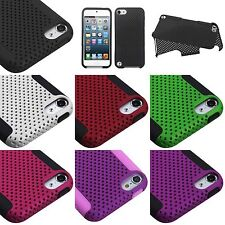 iPod Touch 5th 6th 7th Gen - HARD&SOFT Rubber Hybrid Mesh Dual Layer Case Cover