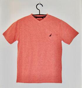 NWT Nautica Big Boys Coral Orange Heather V-Neck SS Logo T-Shirt sz M 10-12