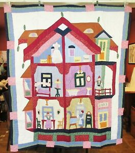 """50"""" x 60"""" Wall Hanging / Throw Doll House Quilt - New"""