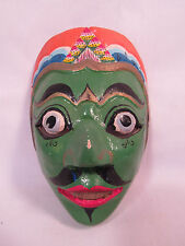 Vintage Javanese Java Island Hand Carved & Painted Wood Mask Indonesia C