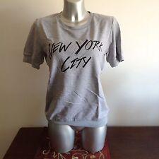 """MAGLIA DONNA WOMAN T-SHIRT GRIGIA CON STAMPA """"NEW YORK CITY"""" TAGLIA UNICA"""