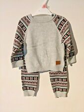 Baby Boys Outfit Fine Knit 2 piece Set Top and Trousers Warm Christmas Xmas