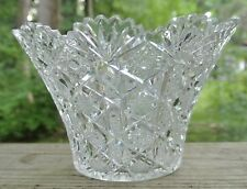 American Brilliant Period Cut Glass Vase ,Fans and Hobstar Scalloped