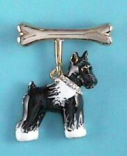 Black and White Generic Terrier Schnauzer Dog Pin with Crystal Collar