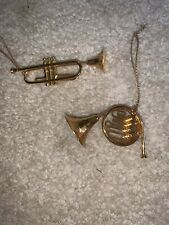 "Trumpet French Horn Brass Christmas Ornaments 2"" 3"" Metal"