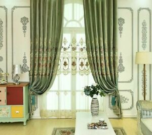 Velvet Embroidered Window Curtains Treatment Floral Woven High Shading Linen New