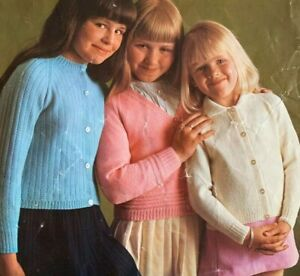 """Girls Cardigans 24""""-28"""" 4ply Vintage Knitting Pattern C20"""