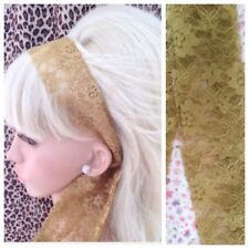 GOLD FLORAL LACE 50s VINTAGE STYLE HEAD SCARF HAIR BAND SELF TIE BOW 80s RETRO