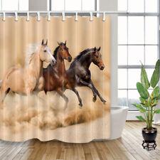 "Waterproof Fabric & 12 Hooks Three Running Horses Farm Animal Shower Curtain 71"""
