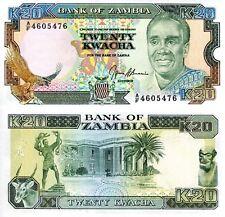 ZAMBIA 20 Kwacha Banknote World Paper Money UNC Currency Pick p32b 1989-91 EAGLE